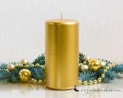 Stumpenkerze Gold - 12cm