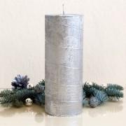 Stumpen Kerze Silber mit Spiraldeko - 18cm