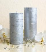 Stumpen Kerze Silber mit Spiraldeko - 15cm