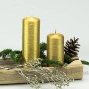 Stumpenkerze Adventskerze Gold patiniert perlmut 12 - 18cm