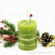 Stumpenlkerze Tropfendesign - 10cm - olive weis