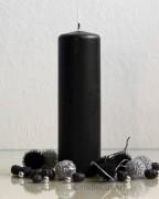 Stumpenkerze Matt Schwarz - 6 x 20cm