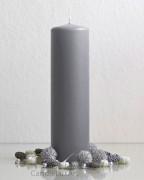 Stumpenkerze Matt Grau - 7 x 25cm