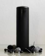 Stumpenkerze Matt Schwarz  8 x 30cm