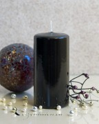 Stumpenkerze Hochglanz lackiert schwarz - 12cm