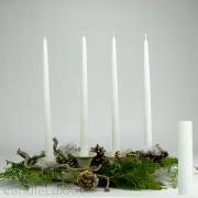 4 Tafelkerzen Spitzkerzen Leuchterkerzen gekratzt - weiß 38cm