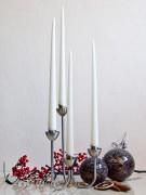 4er Tafelkerzen Spitzkerzen Set - Edel lackiert - weiß 32cm