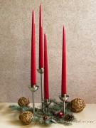 4er Spitzkerzen Tafelkerzen Set - Edel lackiert - rubinrot 32cm