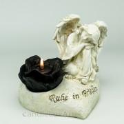Trauerengel auf Herz für Kerze creme 17cm