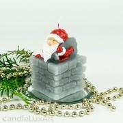 Weihnachtsmann im Schornstein 6x9cm grau