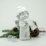 Winterengel mit weißer Mütze und Kerze Höhe 18cm