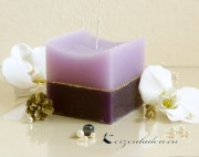 Würfelkerze Rustikal Goldstreifen - 2farbig lila