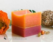 Würfelkerze Rustikal Goldstreifen - orange/rot
