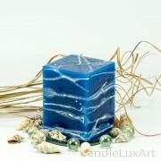 Würfelkerze Tropfendesign - 10cm - blau weis