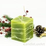 Würfelkerze Tropfendesign - 10cm - olive weis